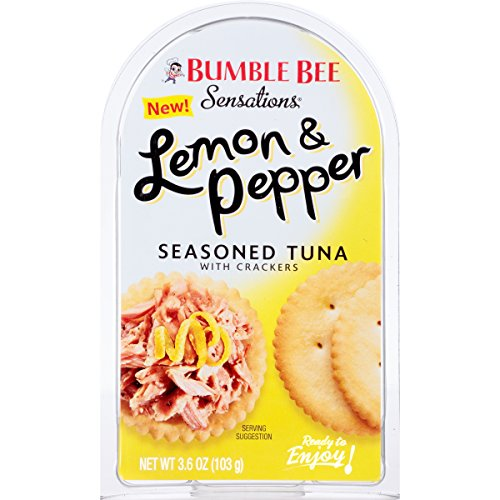 (BUMBLE BEE Sensations Lemon and Pepper Seasoned Tuna with Crackers, Tuna Snack Kit, High Protein Food, Bulk Snacks, 3.6 Ounce Packages (Pack of 12))