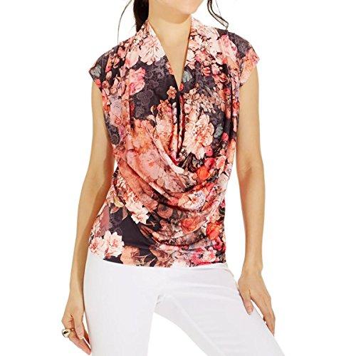 ECI New York Womens Surplice Tie-Dye Pullover Top Pink M