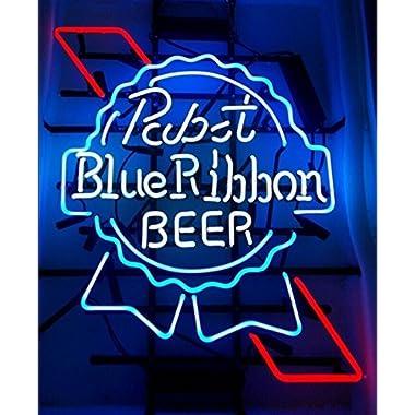 QueenSense®Larger Pabst Blue Ribbon Neon Light Sign 19''x15'' V52 1L