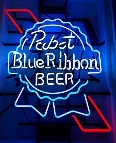 Urby® Larger Pabst Blue Ribbon Real Glass Beer Bar Neon Light Sign 24''x20'' PBR01