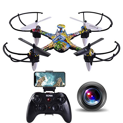 Sftoys FPV Drone with 720p Hd Camera Live Video, Wide-Angle WiFi Quadcopter with Led Light, Headless Security System, Altitude Hold, One Key Take Off/Landing, 3D Flip (Graffiti)