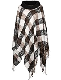 2LUV Women's Plaid Print Turtleneck Poncho W/ Fringe Trim