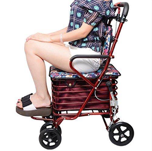 Walker ancianos plegable portátil de la carretilla de 4 ruedas Compras silla cómoda , red