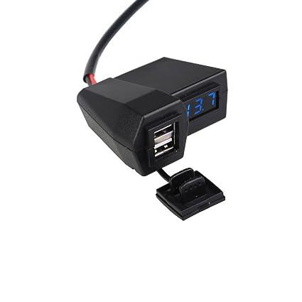Deylaying impermeable doble puerto USB. Toma de corriente. Cargador de batería. Voltímetro. Interruptor para moto. turquesa