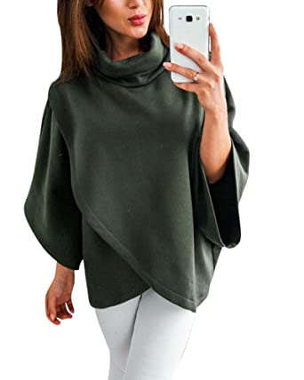 Womens Winter Turtleneck Cloak Solid Color Knitted Wrap Shawl Jumper Poncho Cape Top