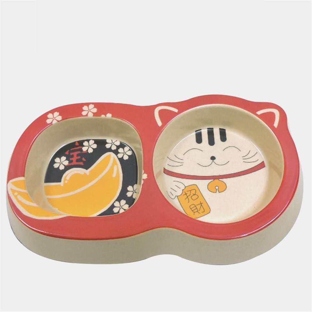 Tazón de fuente de dibujos animados japonés de doble tazón | Tazón de alimentación Tazón de gato y perro | Adecuado para gatos y perros pequeños | Tazón de gato Conejo Hamster Bambú Carbón Fiber Bowl