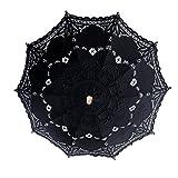 OurWarm 1PCS Battenburg Lace Umbrella Parasol Romantic Wedding Umbrella Black