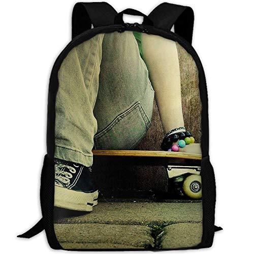 Phyllis Walker Backpack Skate Jeans Shoes Skateboards Print Fashion College Double Shoulder Bag Travel Outdoor Camping Crossbody Bags for Men Women