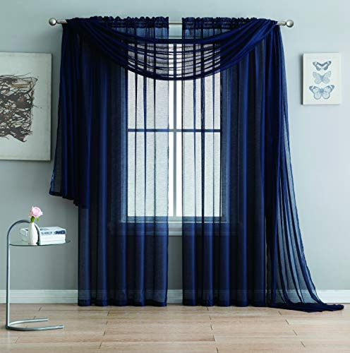 Jane - Rod Pocket Semi-Sheer Curtains - 2 Pieces - Total Size 108