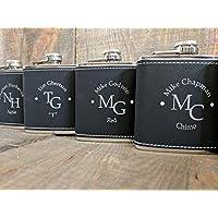 Black Leather Laser-Engraved Groomsmen Flasks