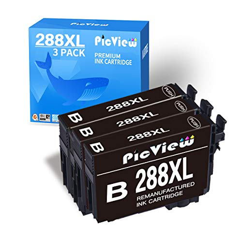 PicView Remanufactured Ink Cartridge Replacement for Epson 288 XL 288XL T288 T288XL Use with Expression Home XP-440 XP-330 XP-340 XP-430 XP-446 XP-434 Printer, 3 Black