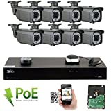GW 8 Channel 4K NVR Video Security Camera System - Eight 5MP 1920P Weatherproof 2.8-12mm Varifocal Bullet Cameras, 180ft IR Night Vision, Realtime Recording 1080p @ 30fps, Pre-Installed 3TB HDD