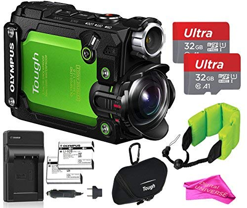 Olympus TG-Tracker 4K Video Stylus Action Camera (Green) Travel RUGGED TOUGH Bundle: Camera + 2x 32GB Memory Cards + On-The-Go Travel Charger Extra Battery+ Camera Case + Float + DigitalUniverse Cloth