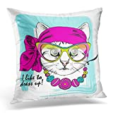 Emvency Throw Pillow Cover Pink Animal White Cat Necklace Bow Glasses Dressed Attire Beret Decorative Pillow Case Home Decor Square 20x20 Inches Pillowcase