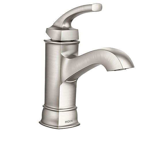 Moen WS84414MSRN Hensley Single Handle 1 Hole Bathroom Faucet, Spot Resist Brushed Nickel