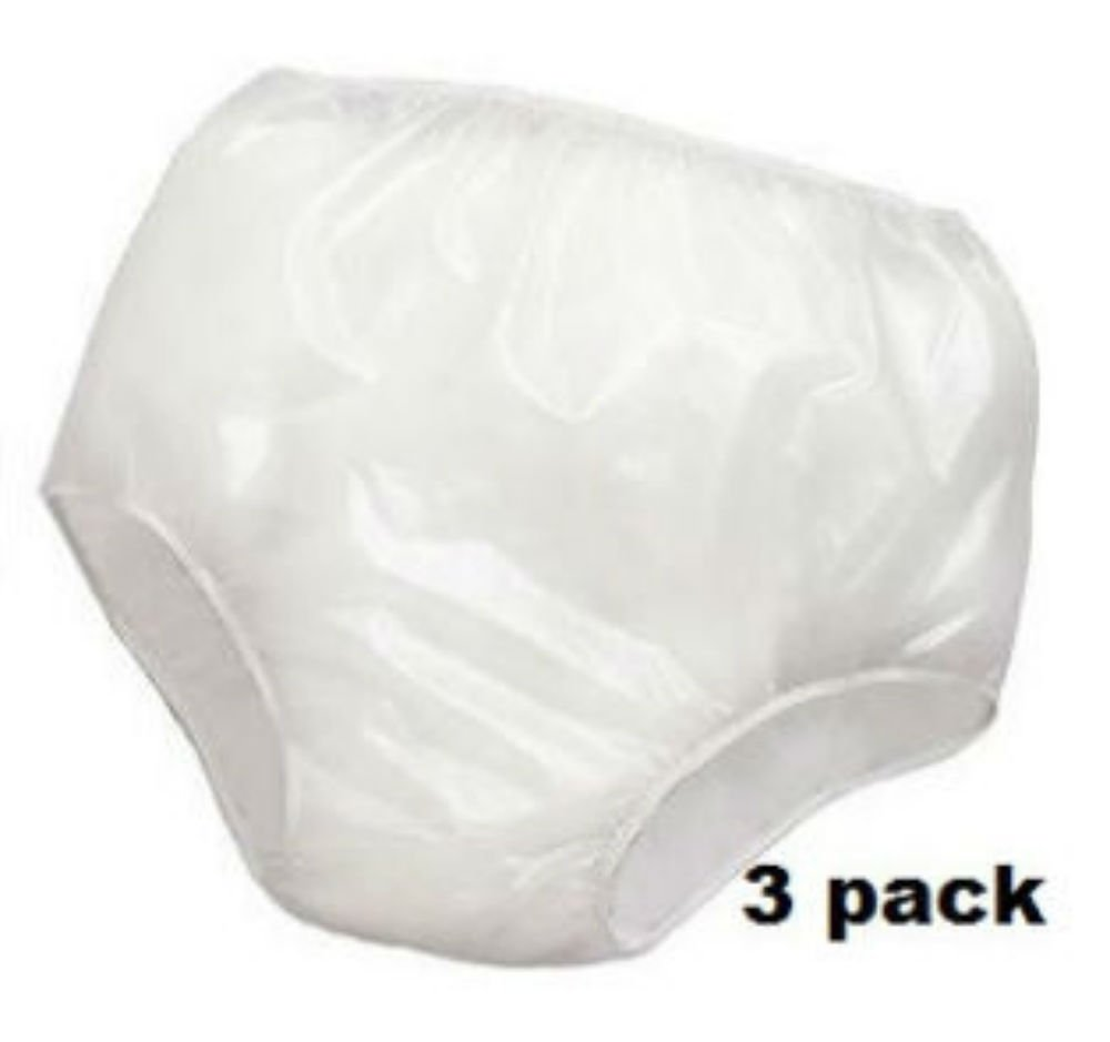 3PK Reliamed Adult Waterproof Soft Vinyl Plastic Pant Diaper Incontinent S-XXL (Adult Medium Fits 26