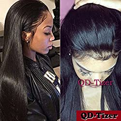 QD-Tizer Long Straight Hair Lace Front Wigs Black Color Heat Resistant Synthetic Lace Front Wigs for Beauty Women 18 inch