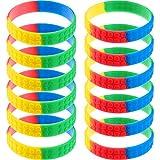 60 Pieces Silicone Wristbands Rainbow Wristbands Colorful Kids Building Block Bracelet Wristbands for Kids Party Favor, Kids Size (Color 1)