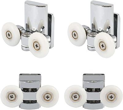 2 superiores e inferiores de 25 mm Juego de 4 rodillos cromados para puerta de ducha
