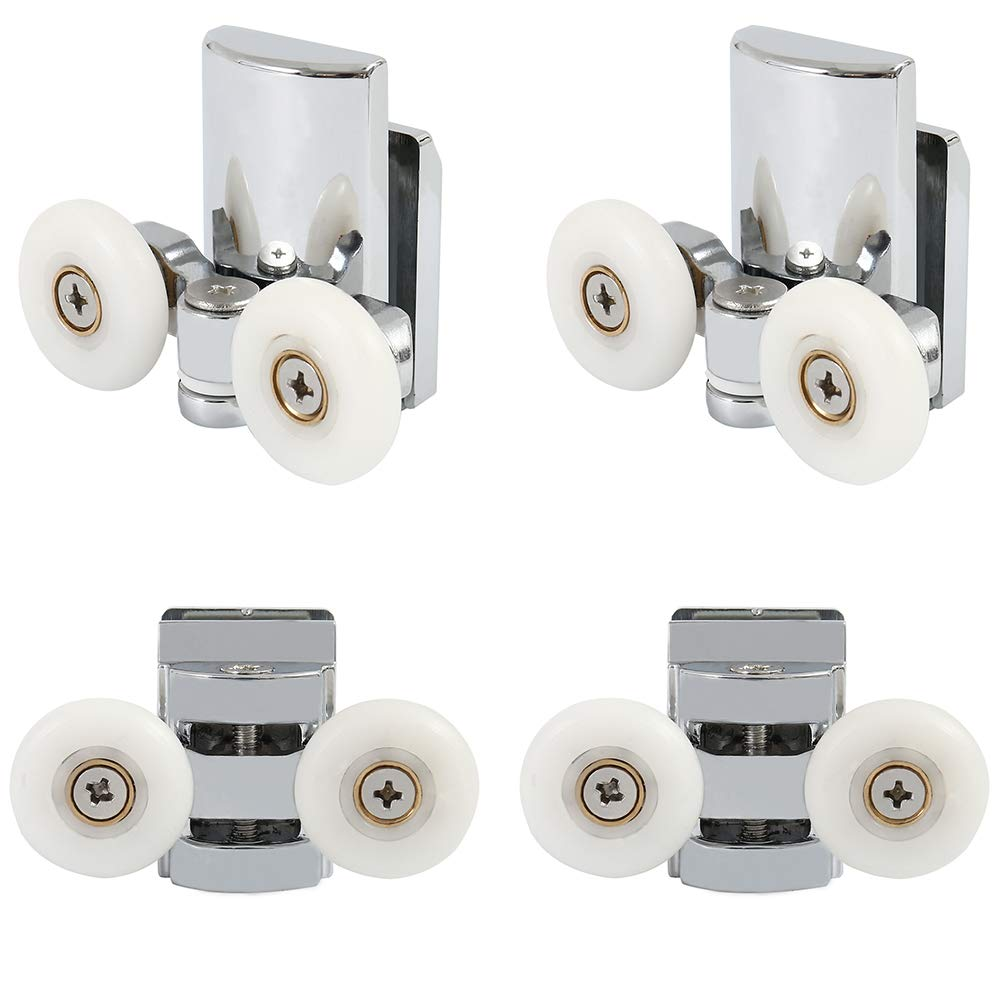 Set of 4 Twin Shower Door Rollers Roller Runners Wheels Pulleys Zinc Alloy 23mm Wheel Diameter Top Bottom Bathroom Replacement Parts (2 top+2 Buttom) 6226128507274