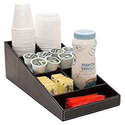 G.U.S. 1-Piece Coffee & Tea Condiment and Accessories Organizer with 7 Compartments for Office Breakroom or Home Kitchen. Decorative Black Leatherette