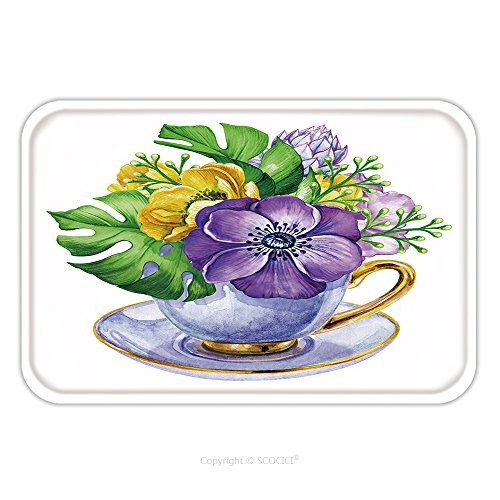 Flannel Microfiber Non-slip Rubber Backing Soft Absorbent Doormat Mat Rug Carpet Elegant Bunch Of Flowers Anemone In The Tea Cup Watercolor Shabby Chic Illustration Isolated On 390927421 for Indoor/Ou (Llama Teacup)