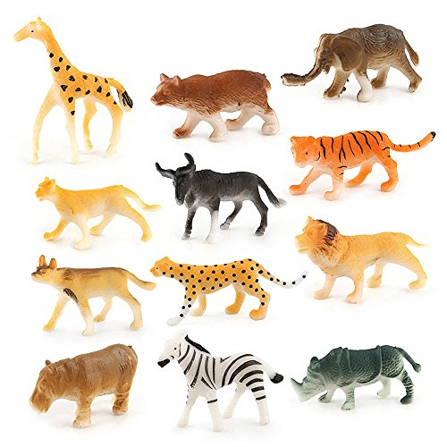 Melissa & Doug Zoo Peg - Sunny&Love ZHUOJU 12pc Kids Childrens Assorted Plastic Toy Mini Wild Animals Jungle Zoo Model (Multicolor)