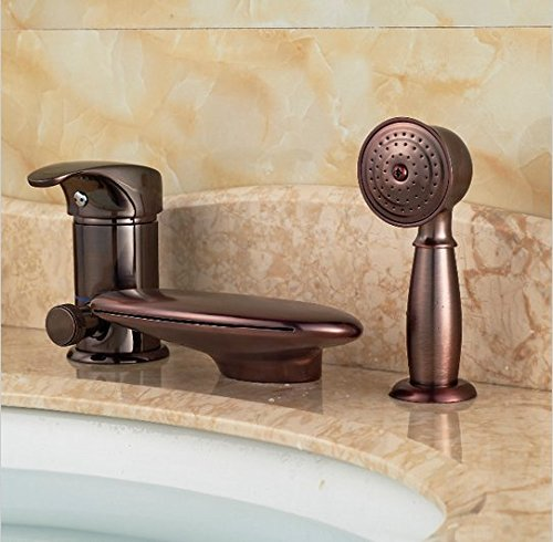GOWE Luxury Oil Rubbed Bronze Waterfall Bathroom Faucet Tub 3 pcs Sink Mixer Tap W/ Hand Sprayer 1