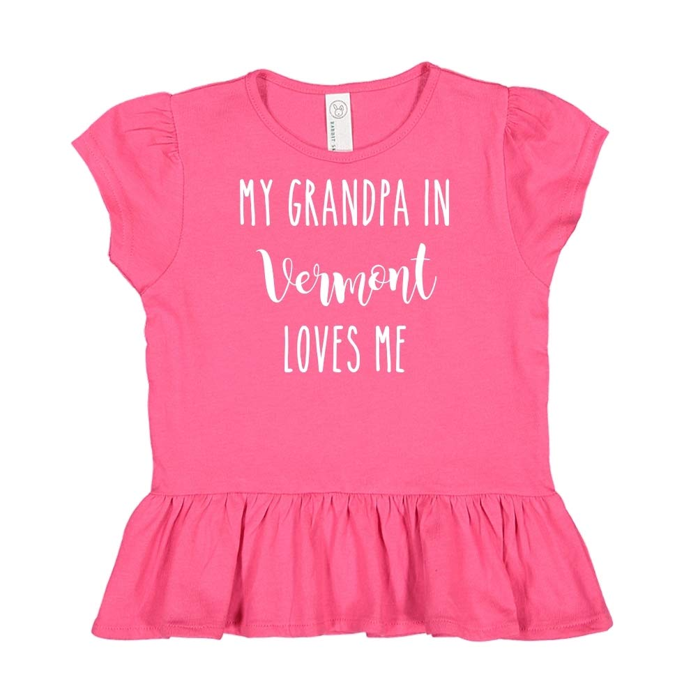 My Grandpa in Vermont Loves Me Toddler//Kids Ruffle T-Shirt