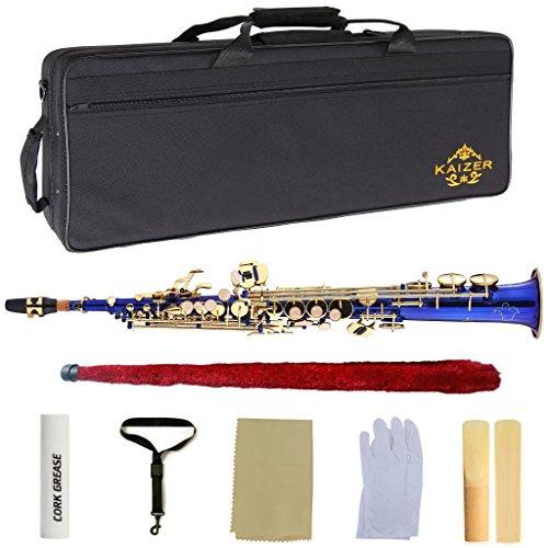 Kaizer Soprano Saxophone Straight B Flat Bb Blue Body Gold Keys SSAX-1000BLGK