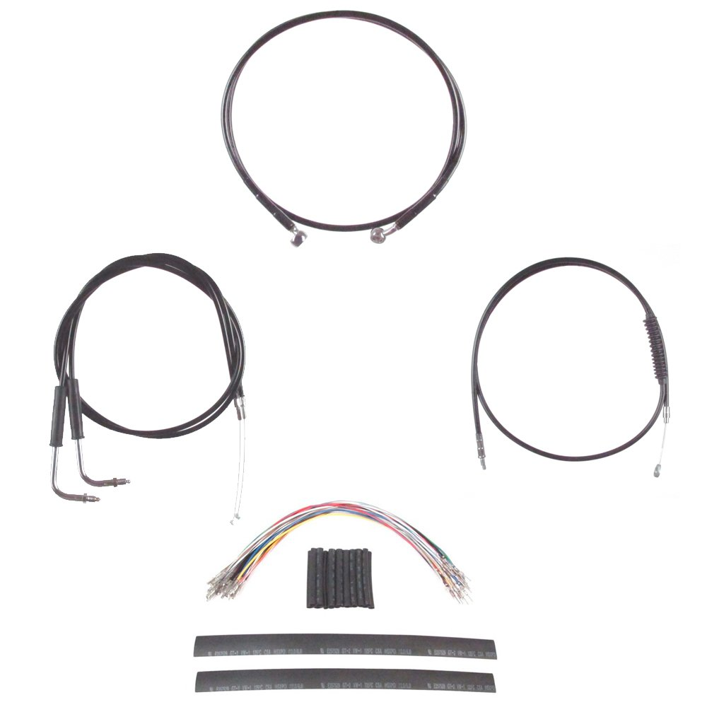 Hill Country Customs Complete Black Cable Brake Line Kit for 14'' Tall Handlebars 1996-2006 Harley-Davidson Softail Models HC-CKC21214-BLK