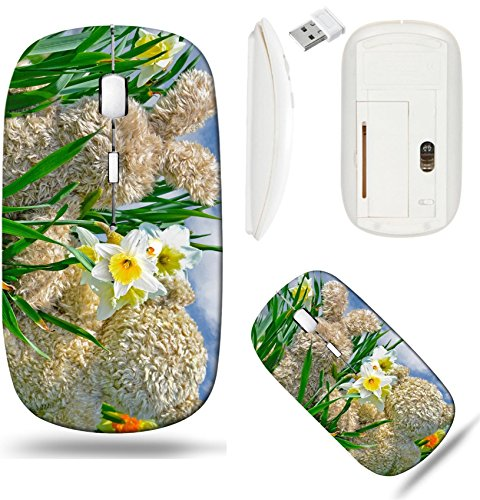 Liili Wireless Mouse White Base Travel 2.4G Wireless Mice with USB Receiver, Click with 1000 DPI for notebook, pc, laptop, computer, mac book teddy bear and bunny in daffodils Photo 19425863 ()