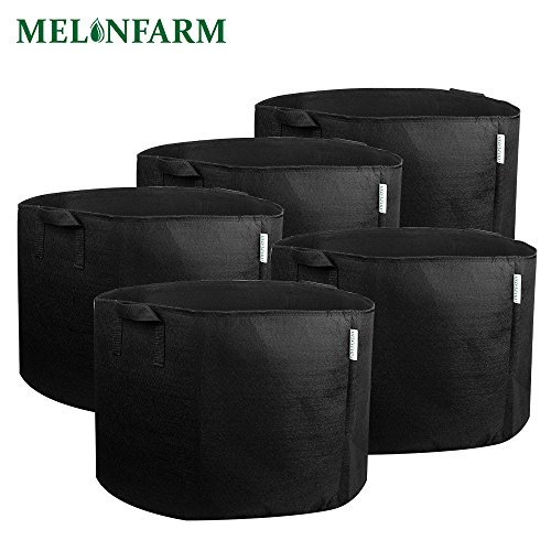 MELONFARM 5-Pack 15 Gallon Plant Grow Bags Heavy Duty Aeration Fabric Pots Hydroponics Containers With Handles by MELONFARM