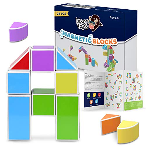 Bison STEM Toys   Magnetic Tile Educational Toys   3D Magnetic Blocks   Imagination Magnets Make Great Autism Toys and ADHD   Mental Stimulation, Construction Toys, Quiet Play   28 pcs