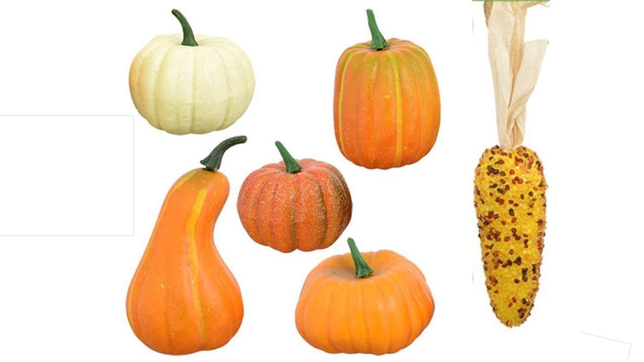 Thanksgiving Decorations - Artificial Pumpkins - Craft Package of 6 Artificial Fall Pumpkins Gourds and Corn - Fall Crafts TopNotch Outlet
