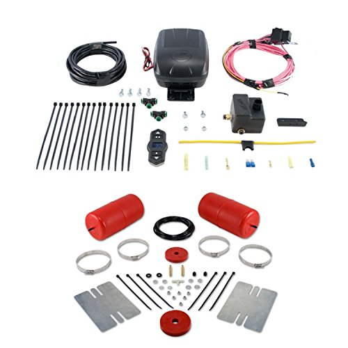 Air Lift 60769 25870 Rear Set of Air Lift 1000 Series Air Springs with Wireless One Single Path On-Board Air Compressor System Bundle for GMC Hummer Ford Cadillac