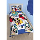 Disney Mickey Mouse Childrens/Kids Polaroid Reversible Single Duvet Cover Bedding Set (Twin) (Multicoloured)
