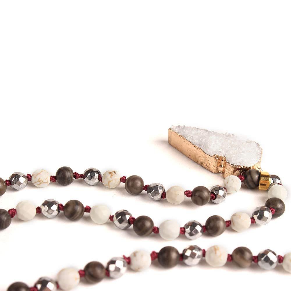 VEINTI+1 Boho Style Semi-Precious Stone with Irregular Shape Natural Stone Long Necklace Sweater Chain