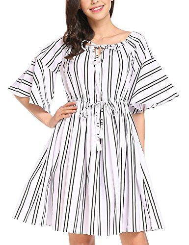 iShine Señora Vestido de la cintura de encaje de impresión sin tirantes blanco 1