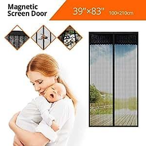 """Tker Magnetic Screen Door Instant Hands Free Magic Mesh Anti Fly Mosquito Bug Door Curtain Screen Net Fits Doors up to 39""""x83""""-Black"""