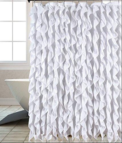 Chic Shower - Waterfall Shabby Chic Ruffled Fabric Shower Curtain (white)