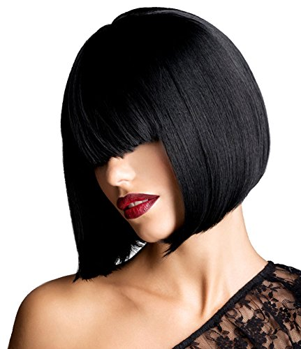 [Another Me Wig Women's Glossy Black Short Bob Wig 11.5 Inches Ultra Soft Neat Bangs Heat Resistant Fiber Party Cosplay] (Black Bob Wig With Bangs)