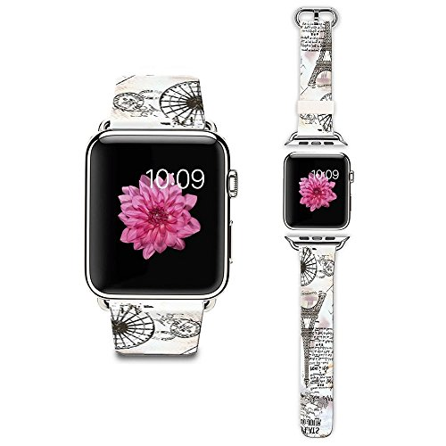 Apple Watch Strap Apple Watch Band 38MM Genuine Leather Strap Wristband With Free Adapters for Apple Watch/ Sport/ Edition 38mm-Eiffel Tower Postcards Band Postcard