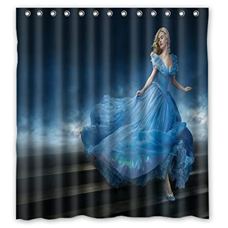 Unique And Generic Lily James As Cinderella Movie Shower Curtain Custom Printed Waterproof Fabric Polyester Bath