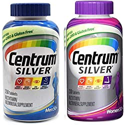 Centrum Silver Men and Women 50+ Bundle Supports Heart, Brain and Eye Health Multivitamin/Multimineral Supplement (250 Tablets) Pack of 2