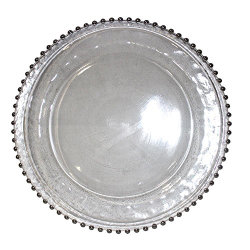 StealStreet SS-Edb-EN112588 12.8 Inch Beaded Glass Charger Plate Silver - Charger Glass Beaded