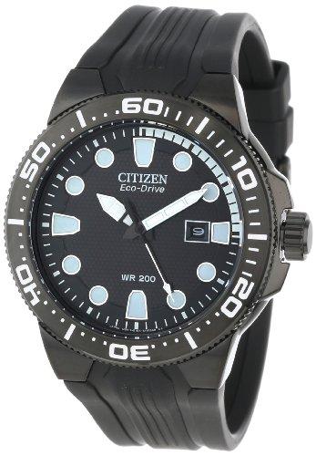 Citizen Men's BN0095-08E Scuba Fin Eco-Drive Stainless Steel and Black Polyurethane Diver's Watch