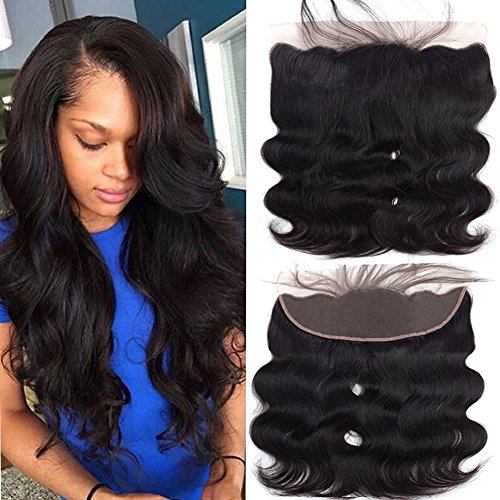 ull Lace Frontal Closure Ear To Ear Free Part Unprocessed Brazilian Virgin Hair Body Wave Human Hair Extensions Natural Color Free Part 16 Inch ()