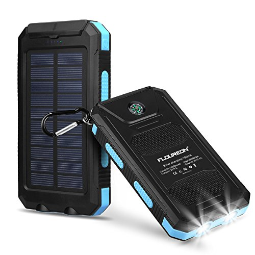 FLOUREON 10000mAh Solar Charger Power Bank Waterproof Portable External Battery Backup with Dual USB for Android iPad iPhone Cellphones, 2 LED Flashlight with Compass for Emergency(Blue) - Cell Blue Flashlight