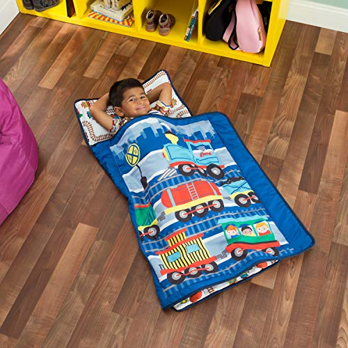 Everyday Kids Toddler Nap Mat with Removable Pillow -Choo Choo Train- Carry Handle with Fastening Straps Closure, Rollup Design, Soft Microfiber for Preschool, Daycare, Sleeping Bag - Ages 2-4 Years (Thomas Sleeping Bag)